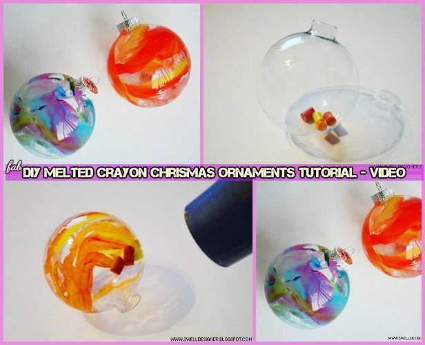 diy melted crayon christmas ornaments tutorial
