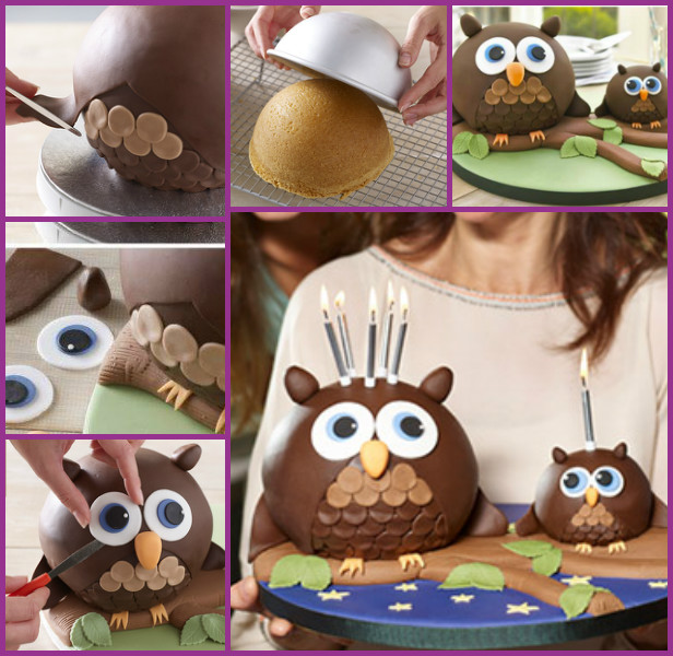 DIY Owl Cake Tutorial Recipe- Chocolate Fondant 3D Owl Cake