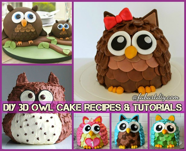 DIY 3D Owl Cake Design Recipes Tutorials