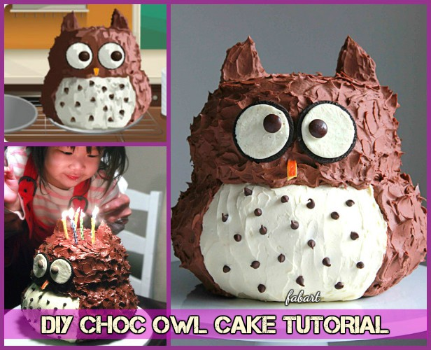 DIY Owl Cake Tutorial Recipe- Chocolate 3D Owl Cake