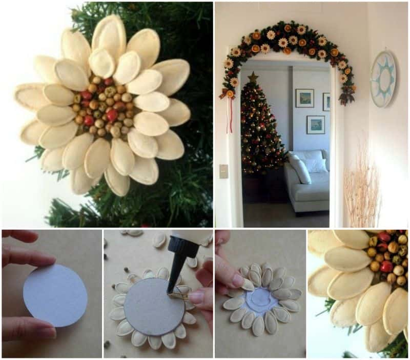 DIY Pumpkin Seed Flower Christmas Ornament Tutorial