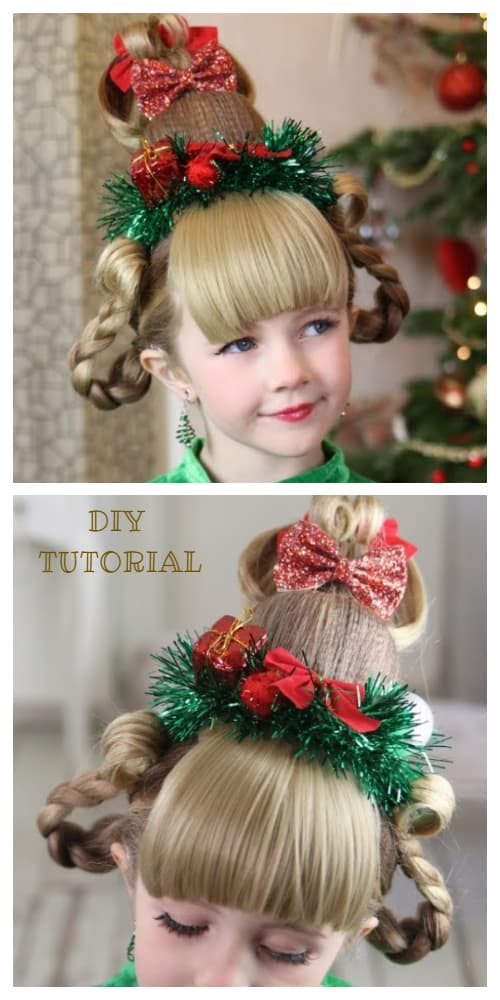 Girls' Cindy Lou Who Christmas Holiday Hairstyle DIY Tutorials + Video