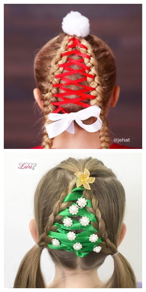 Festive Girls' Christmas Holiday Hairstyle DIY Tutorials + Video