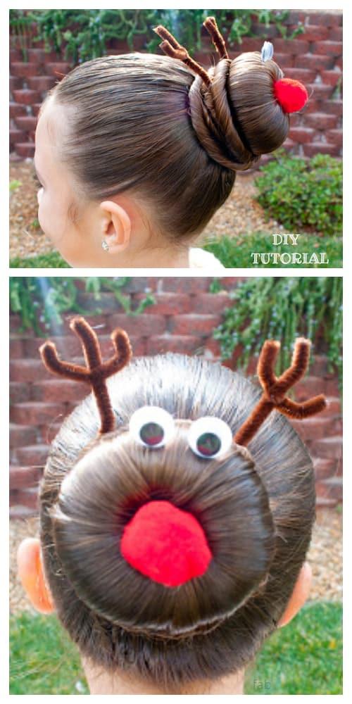 Christmas Girls Reindeer Hairstyle Hair Bun Updo DIY Tutorial