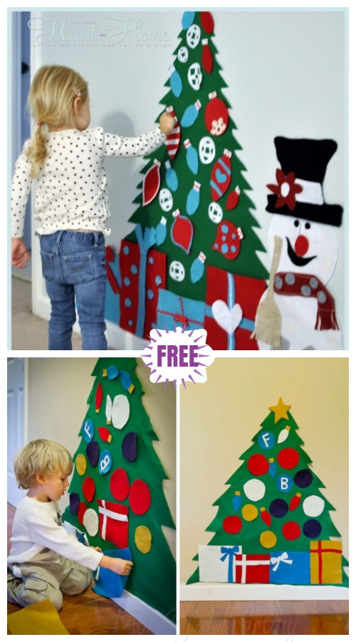 Felt Christmas Tree Set with Ornaments Wall Hanging DIY Tutorial