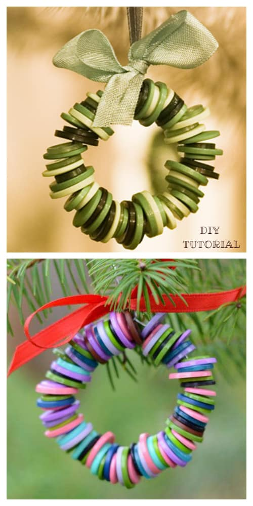 Kids Friendly Christmas Button Crafts Holiday Decorations DIY Ideas - button Christmas Wreath Ornament DIY Tutorial