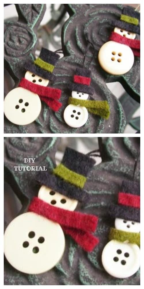 Kids Friendly Christmas Button Crafts Holiday Decorations DIY Ideas - button Snowman Ornament DIY Tutorial