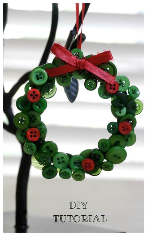 Kids Friendly Christmas Button Crafts Holiday Decorations DIY Ideas - button Christmas Wreath Ornament DIY Tutorial