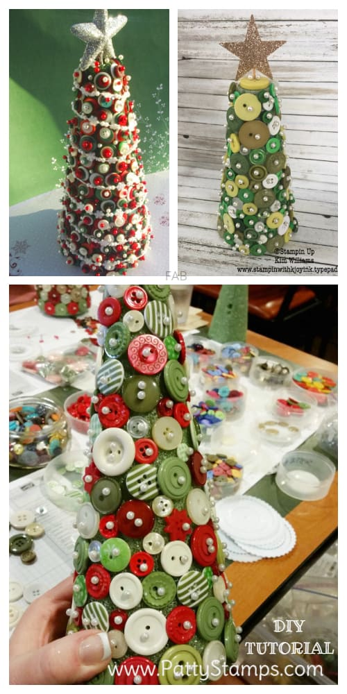 Kids Friendly Christmas Button Crafts Holiday Decorations DIY Ideas -Button Christmas Tree Table Topiary DIY Tutorial