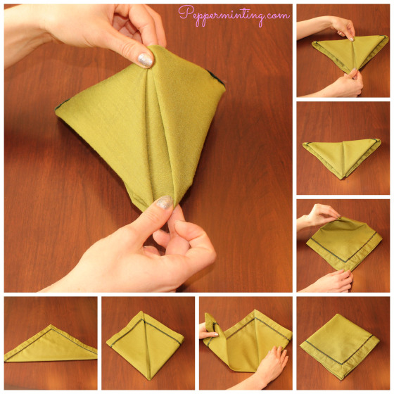 20 Best DIY Napkin Folding Tutorials for Christmas - Pyramid Napkin Folding DIY Tutorial