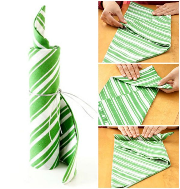 20 Best DIY Napkin Folding Tutorials for Christmas - The Candle roll Napkin folding