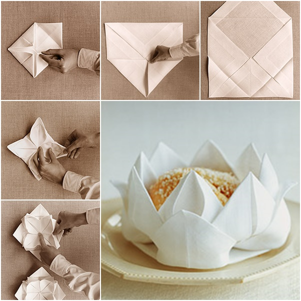 Best DIY Napkin Folding Tutorials for Christmas  Rose Napkin folding