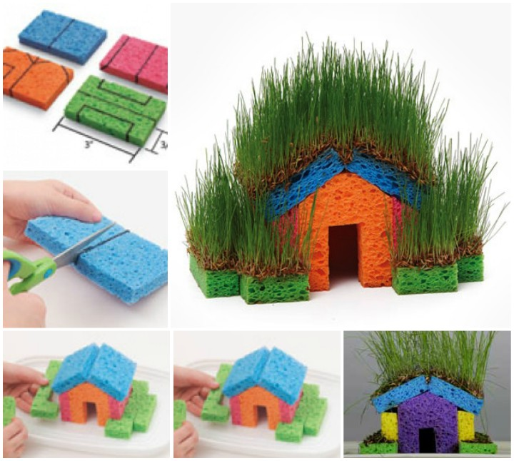 How to DIY Fun Sponge Grass House picture tutorial
