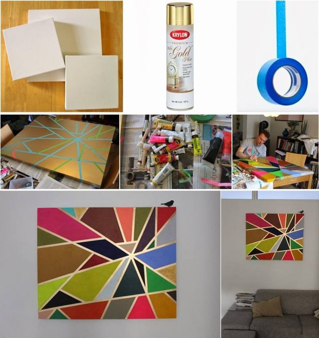 Diy tape canvas painting Diy canvas painting designs