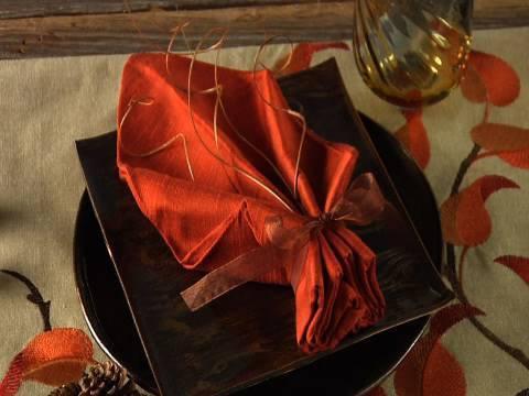 Easy Fall Leaf Napkin Folding