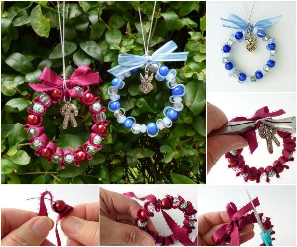 Decorating Ideas > DIY Bead Ribbon Wreath Christmas Ornament ~ 040711_Christmas Decoration Ideas Beads