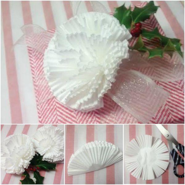 Gift Topper DIY Tutorial 20- DIY Cupcake Liner Flower Gift Topper Tutorial