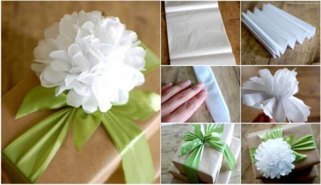 Diy easy tissue paper flower gift topper diy easy tissue paper flower mightylinksfo