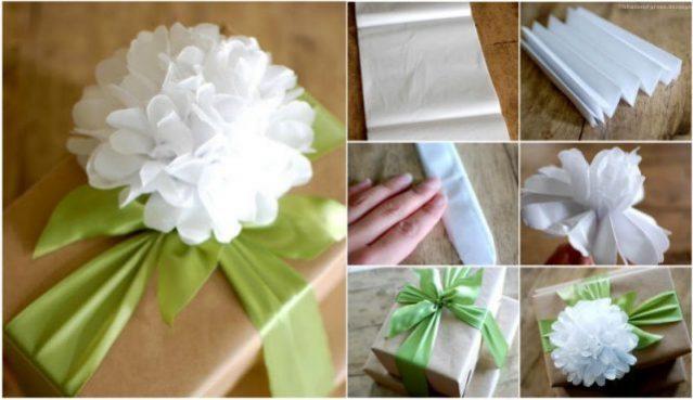 DIY Tissue Paper Flower Gift Topper