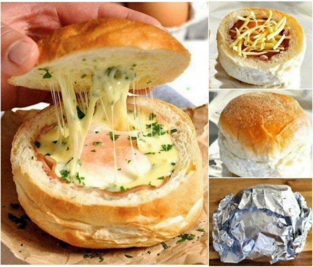DIY Ham Egg & Cheese Bread Bowls