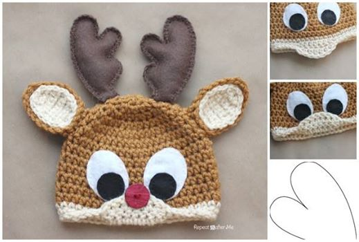 Free Reindeer Hat Crochet Pattern For Dogs : DIY Rudolph The Reindeer Hat with Free Crochet Pattern