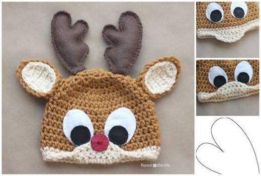 Crochet Reindeer Hat Pattern Free