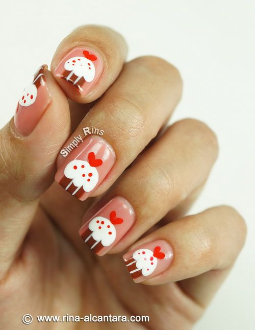 Cupcakes for Valentine's Nail Art Design (Video) ... - 30+ Valentine's Day Nail Art DIY Ideas That You'll Love