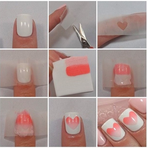 Ombre Nails With Heart (Video) Valentineu0027s Day ...