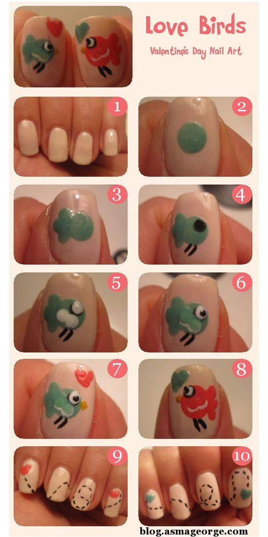 30 valentines day nail art diy ideas that youll love love birds valentines day nail art valentines day nail art diy solutioingenieria Images