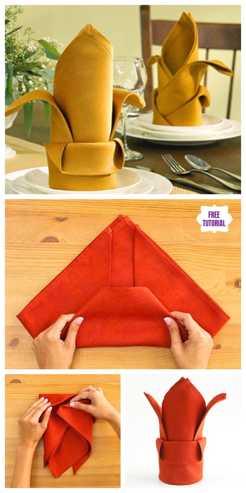 20 Best DIY Napkin Folding Tutorials for Christmas - Bishop's Hat Napkin Folding DIY Tutorial
