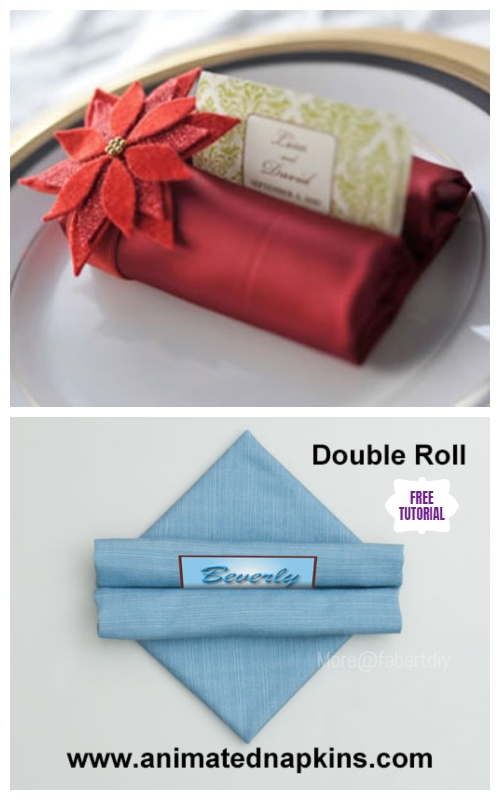 20 Best DIY Napkin Folding Tutorials for Christmas - Double Tootsie Roll Napkin Folding DIY Tutorial