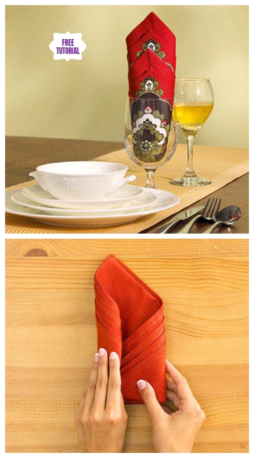 20 Best DIY Napkin Folding Tutorials for Christmas - Towering Diamond Napkin Folding DIY Tutorial