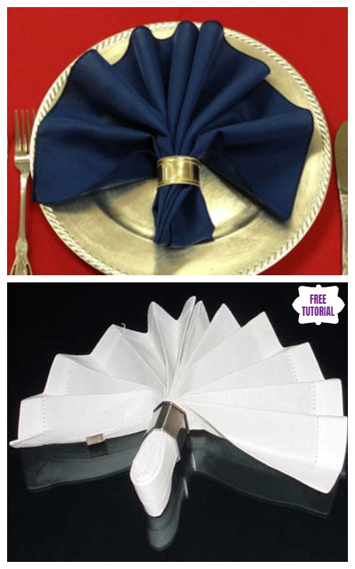 20 Best DIY Napkin Folding Tutorials for Christmas - Ring Fan Napkin Folding DIY Tutorial