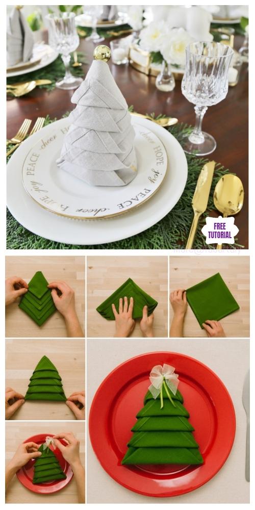 20 Best DIY Napkin Folding Tutorials for Christmas - Christmas Tree Napkin Folding DIY Tutorial