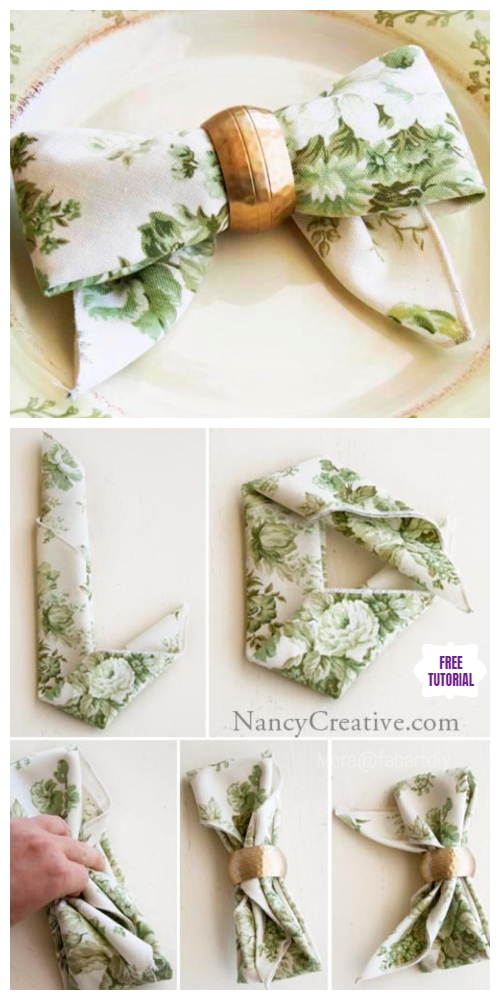 20 Best DIY Napkin Folding Tutorials for Christmas - Bow Napkin Folding with Napkin Ring DIY Tutorial