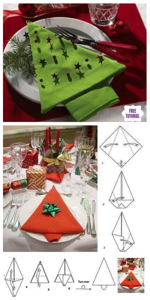 20 Best DIY Napkin Folding Tutorials for Christmas - Christmas Tree Napkin Folding DIY Tutorial