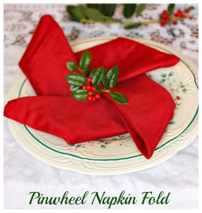 20 Best DIY Napkin Folding Tutorials for Christmas - Pinwheel Napkin Folding DIY Tutorial
