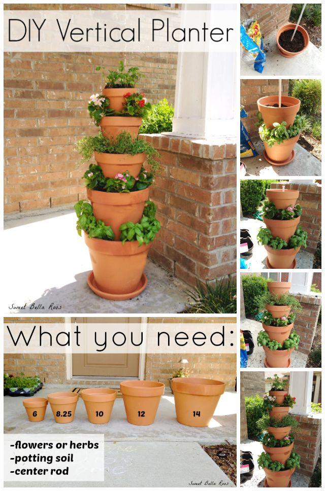 20+ Terra Cotta Clay Pot DIY Project for Your Garden- DIY Vertical Planter