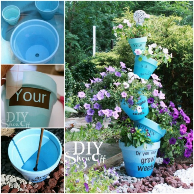 20+ Terra Cotta Clay Pot DIY Project for Your Garden-Ombre Stenciled Flower Pots