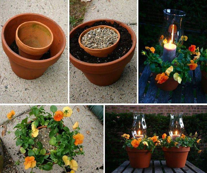 20+ Terra Cotta Clay Pot DIY Project for Your Garden- Clay Flower Pot Candle Holder and Flower Pot in One