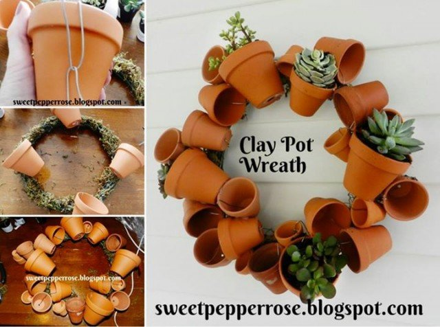 20+ Terra Cotta Clay Pot DIY Project for Your Garden-Clay Pot Wreath