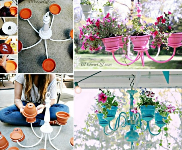 20+ Terra Cotta Clay Pot DIY Project for Your Garden-DIY Chandelier Flower Planter