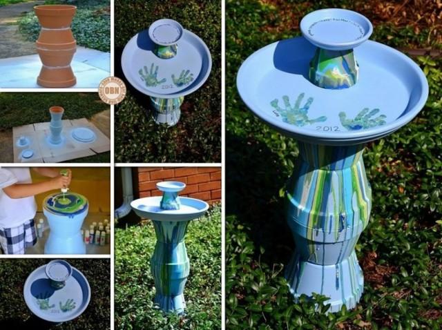 20+ Terra Cotta Clay Pot DIY Project for Your Garden-Homemade Flower Pot Bird Bath