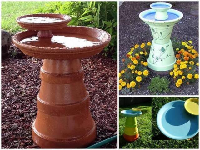 20+ Terra Cotta Clay Pot DIY Project for Your Garden-Clay Pot Bird Bath
