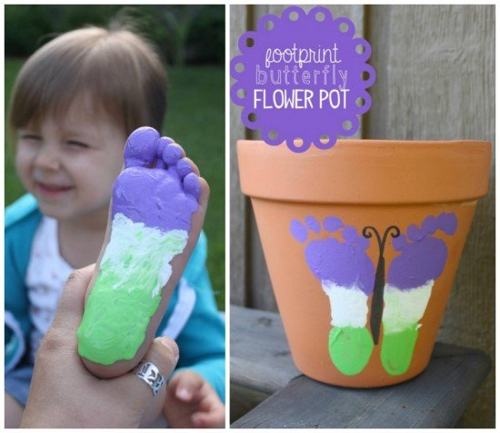20+ Terra Cotta Clay Pot DIY Project for Your Garden-Butterfly Footprint Flower Pot