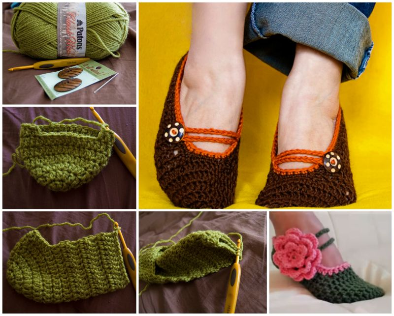 Crochet Mary Jane Slippers with free pattern f