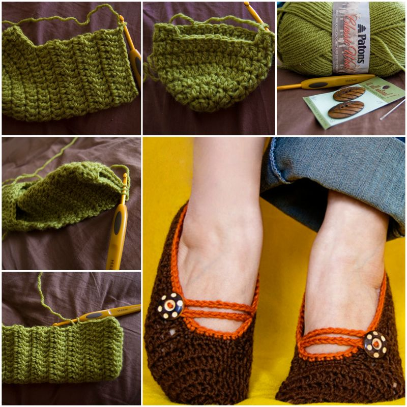 Crochet Mary Jane Slippers with free pattern