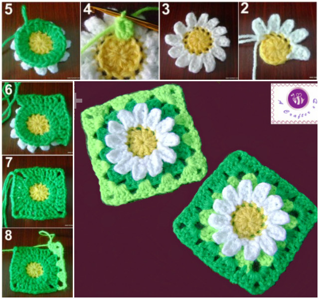 Diy Crochet Daisy Flower Square Blanket With Free Pattern