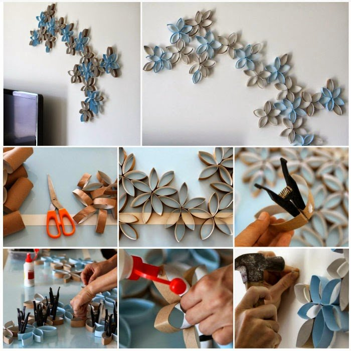 Diy 3d Paper Roll Flower Wall Art