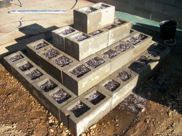 DIY Cinder Block Pyrimad Raised Garden Bed